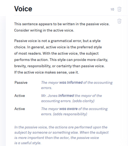 Grammarly Overuse of the passive voice