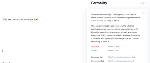 Grammarly Ending sentences with prepositions