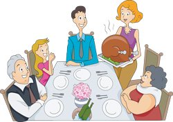 The American tradition of eating Turkey on Thanksgiving.