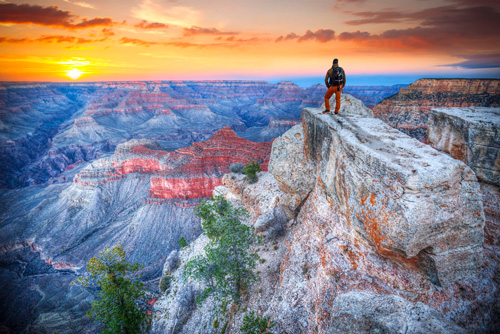 A man in the Grand Canyon