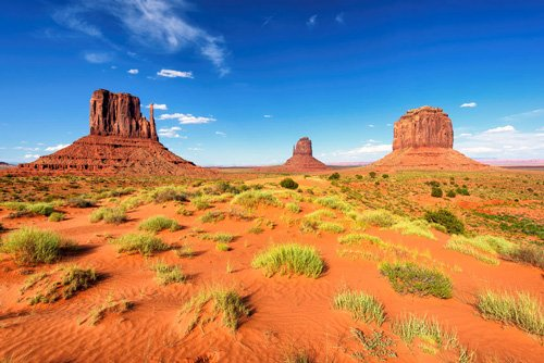 Monument Valley from sand desert