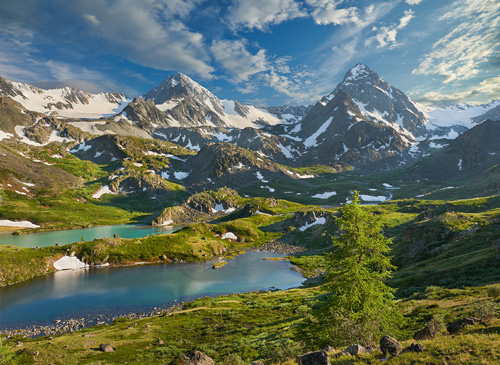 Mountain lake, Russia, Siberia, Altai mountains, Katun ridge