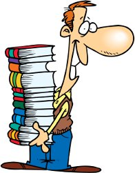 a man with a big pile of books