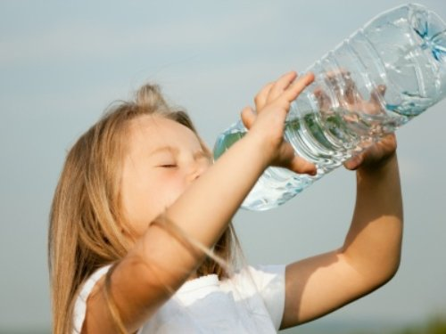 Drinking the bottle of water
